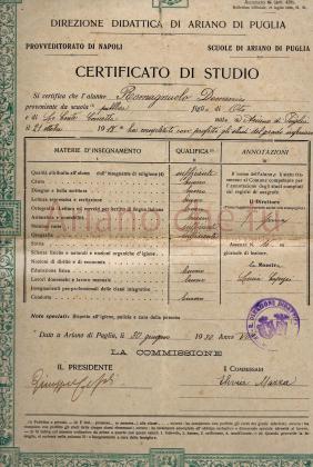 Certificato di studio di Ariano di Puglia